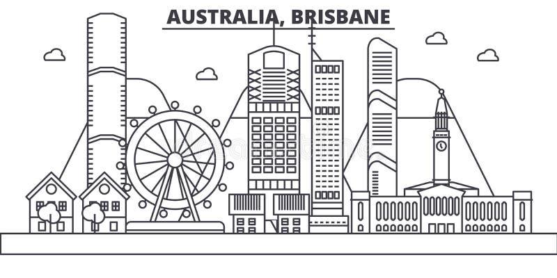 Linea illustrazione di architettura dell'Australia, Brisbane dell'orizzonte Paesaggio urbano lineare con i punti di riferimento f royalty illustrazione gratis