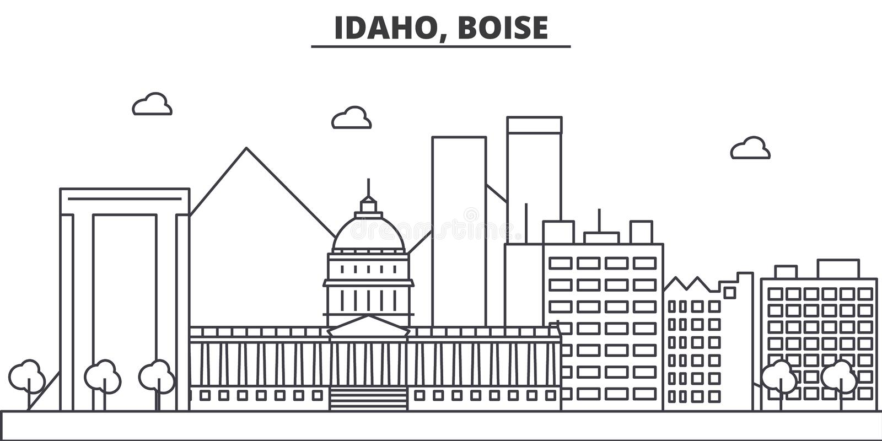 Linea illustrazione di architettura dell'Idaho, Boise dell'orizzonte Paesaggio urbano lineare con i punti di riferimento famosi,  royalty illustrazione gratis