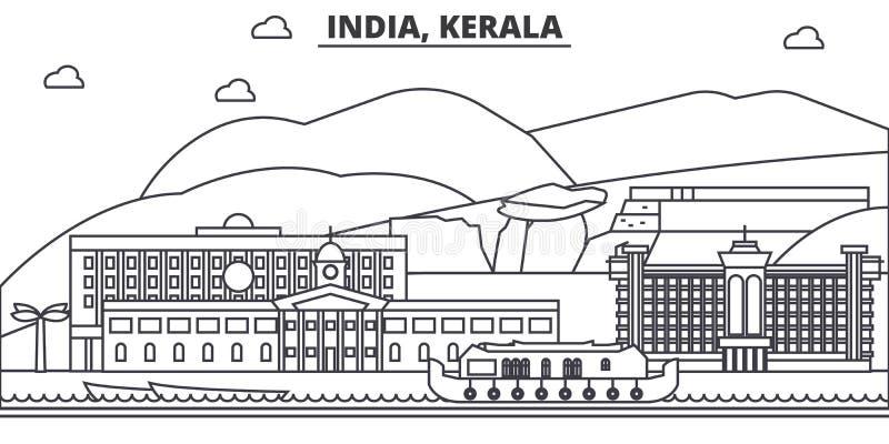 Linea illustrazione di architettura dell'India, Kerala dell'orizzonte Paesaggio urbano lineare con i punti di riferimento famosi, illustrazione vettoriale
