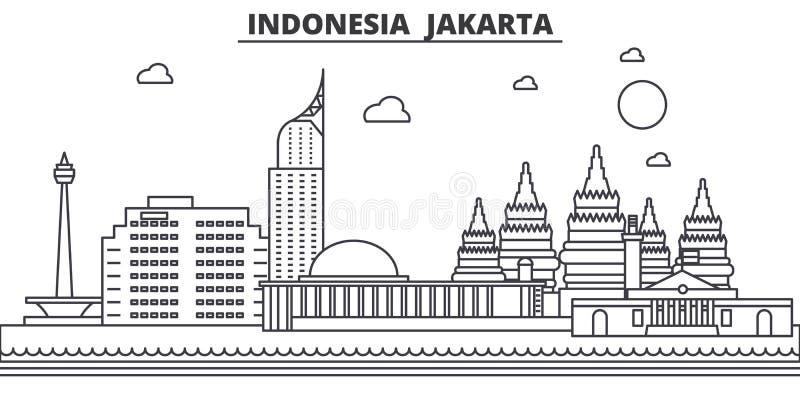 Linea illustrazione di architettura dell'Indonesia, Jakarta dell'orizzonte Paesaggio urbano lineare con i punti di riferimento fa royalty illustrazione gratis
