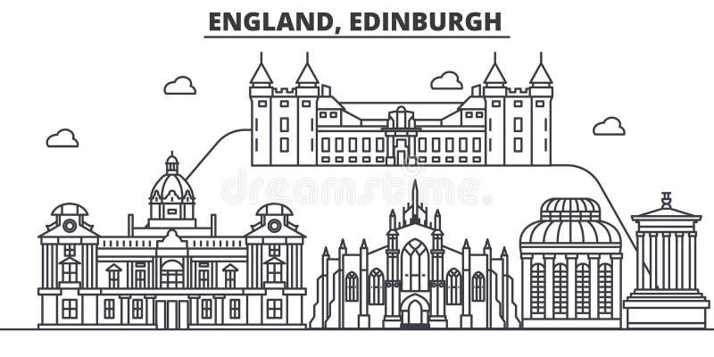 Linea illustrazione di architettura dell'Inghilterra, Edimburgo dell'orizzonte Paesaggio urbano lineare con i punti di riferiment illustrazione di stock