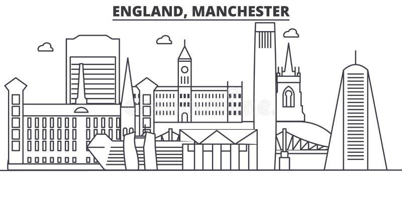 Linea illustrazione di architettura dell'Inghilterra, Manchester dell'orizzonte Paesaggio urbano lineare con i punti di riferimen royalty illustrazione gratis