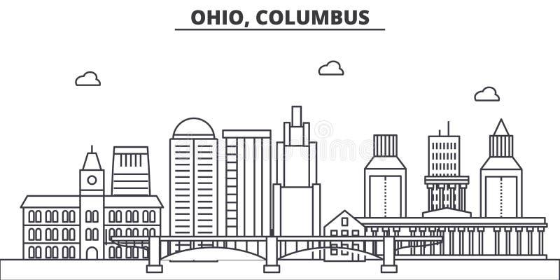 Linea illustrazione di architettura dell'Ohio, Columbus dell'orizzonte Paesaggio urbano lineare con i punti di riferimento famosi illustrazione vettoriale