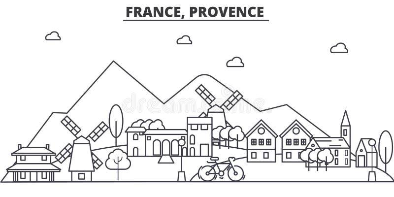 Linea illustrazione di architettura della Francia, Provenza dell'orizzonte Paesaggio urbano lineare con i punti di riferimento fa royalty illustrazione gratis