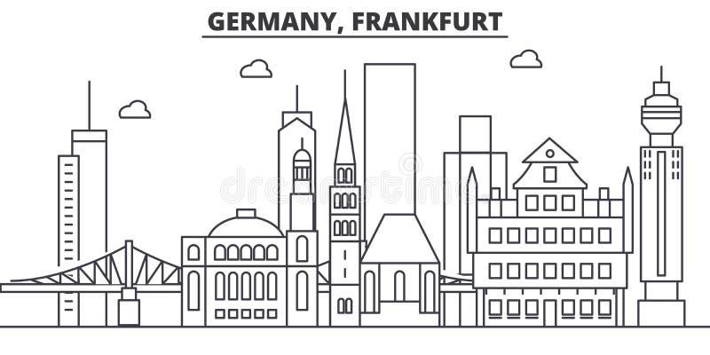 Linea illustrazione di architettura della Germania, Francoforte dell'orizzonte Paesaggio urbano lineare con i punti di riferiment illustrazione vettoriale
