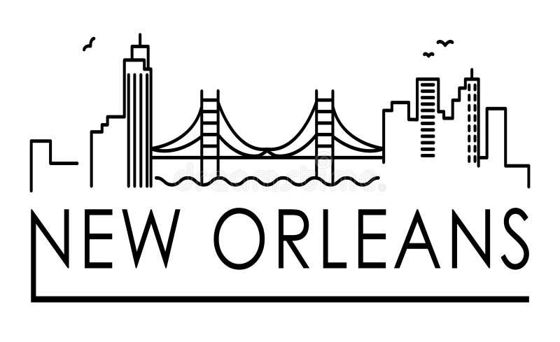 Linea illustrazione di architettura della Luisiana, New Orleans dell'orizzonte Paesaggio urbano lineare con i punti di riferiment royalty illustrazione gratis