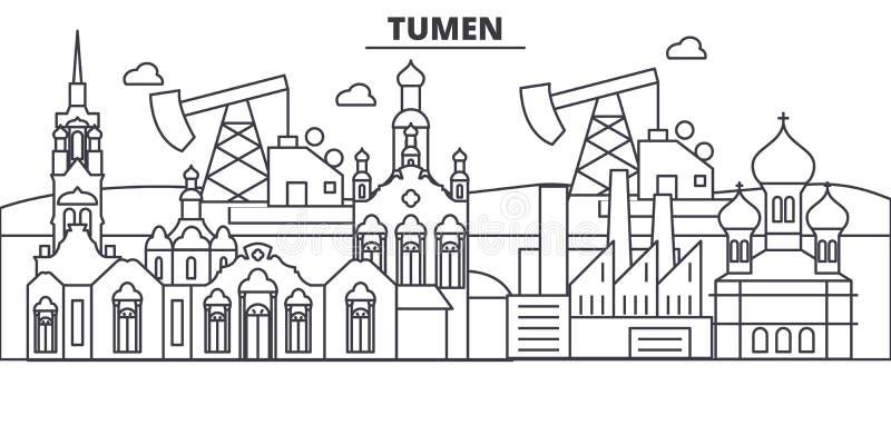Linea illustrazione di architettura della Russia, Tumen dell'orizzonte Paesaggio urbano lineare con i punti di riferimento famosi royalty illustrazione gratis