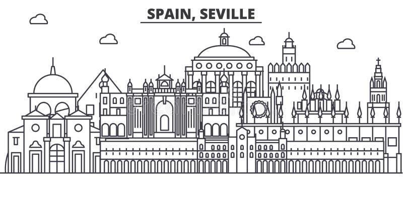 Linea illustrazione di architettura della Spagna, Siviglia dell'orizzonte Paesaggio urbano lineare con i punti di riferimento fam illustrazione di stock
