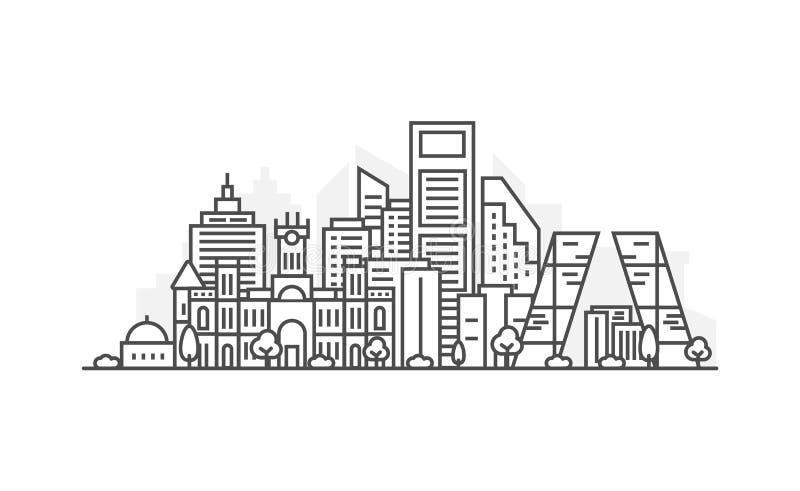 Linea illustrazione di architettura di Madrid, Spagna dell'orizzonte Paesaggio urbano lineare con i punti di riferimento famosi,  illustrazione di stock