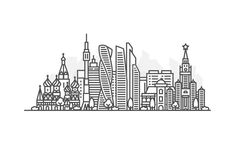 Linea illustrazione di architettura di Mosca, Russia dell'orizzonte Paesaggio urbano lineare con i punti di riferimento famosi, v illustrazione vettoriale