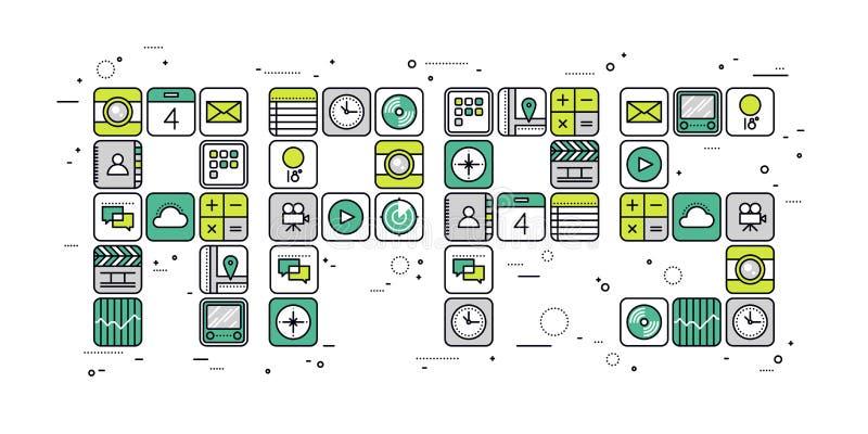 Linea illustrazione di concetto di Apps di stile illustrazione di stock