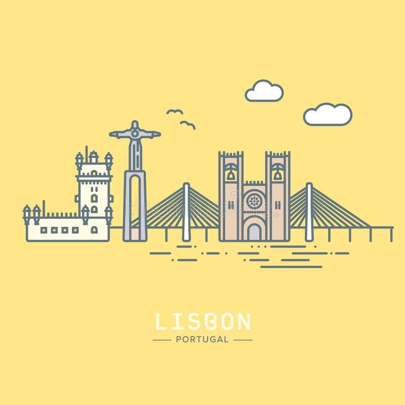Linea illustrazione di paesaggio urbano di Lisbona di vettore di stile dell'icona royalty illustrazione gratis
