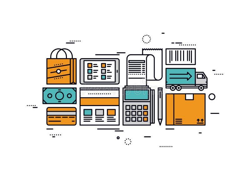 Linea illustrazione di servizi di commercio elettronico di stile illustrazione di stock