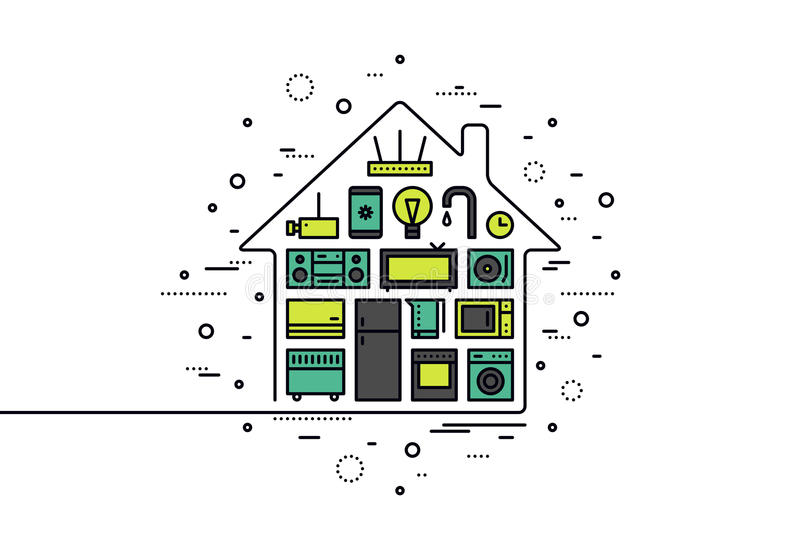 Linea illustrazione di tecnologia della casa intelligente di stile illustrazione di stock
