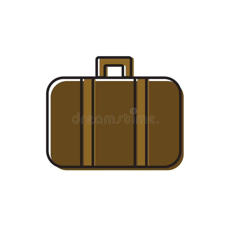 Linea illustrazione di vettore di arte del tronco di cuoio antiquato d'annata di viaggio della valigia con le cinghie Coloritura  illustrazione di stock