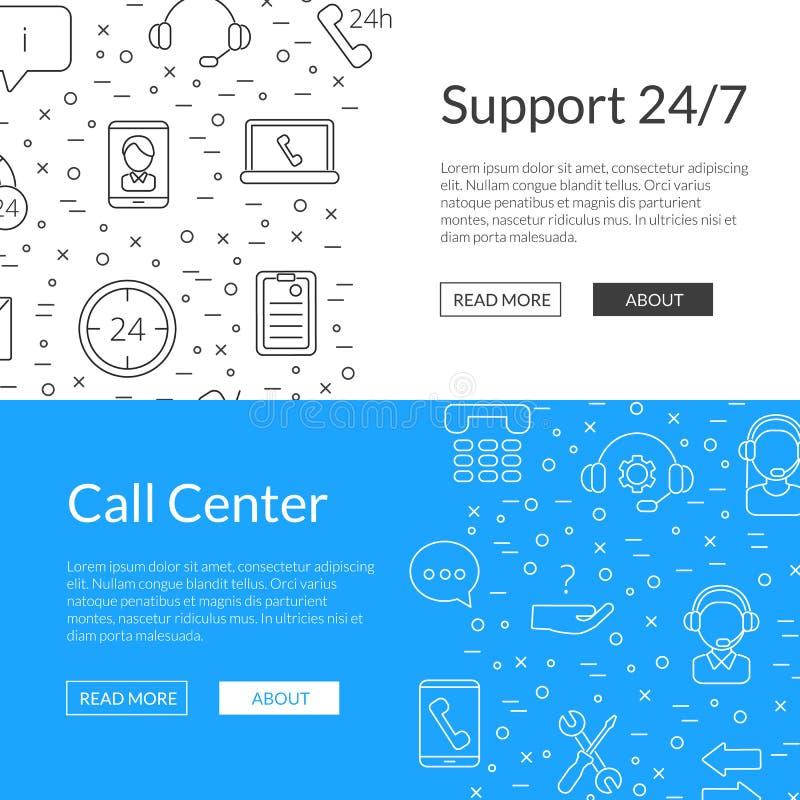 Linea illustrazione di vettore dei modelli dell'insegna di web delle icone del centro di sostegno di chiamata royalty illustrazione gratis