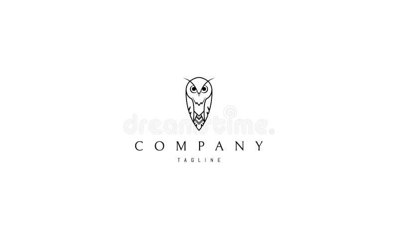 Linea immagine del gufo di logo di vettore illustrazione di stock