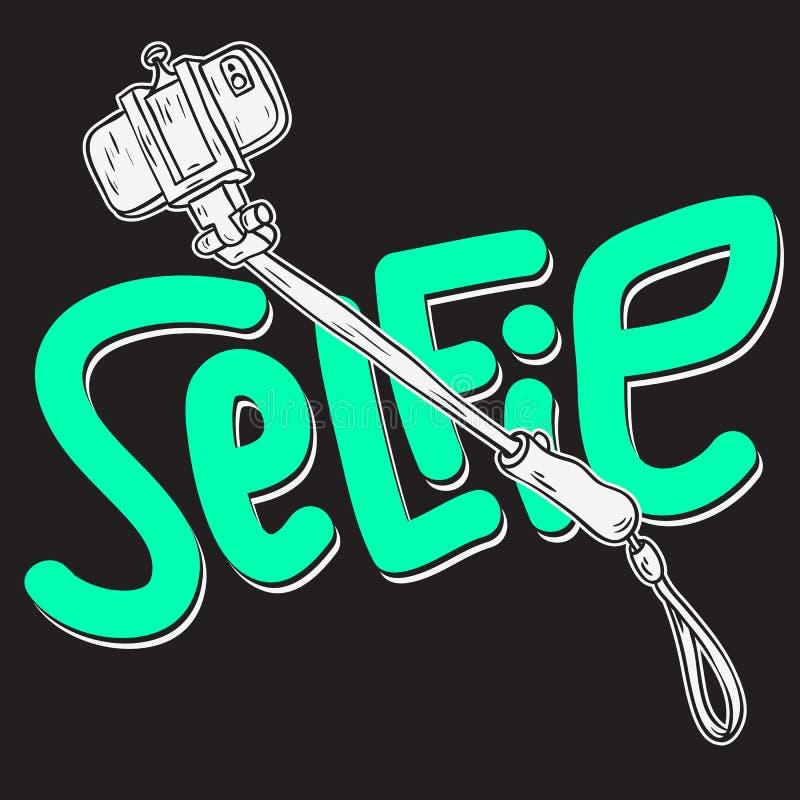 Linea imprecisa disegnata a mano Art Style Drawings Illustrations del fumetto artistico di progettazione del bastone di Selfie illustrazione di stock