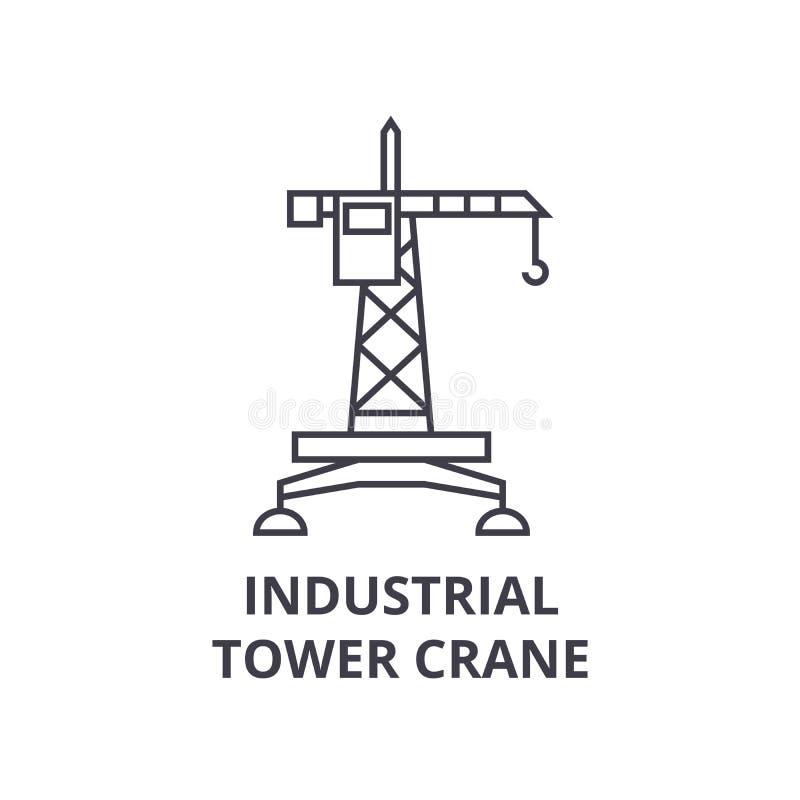 Linea industriale icona, segno, illustrazione di vettore della gru a torre su fondo, colpi editabili illustrazione vettoriale