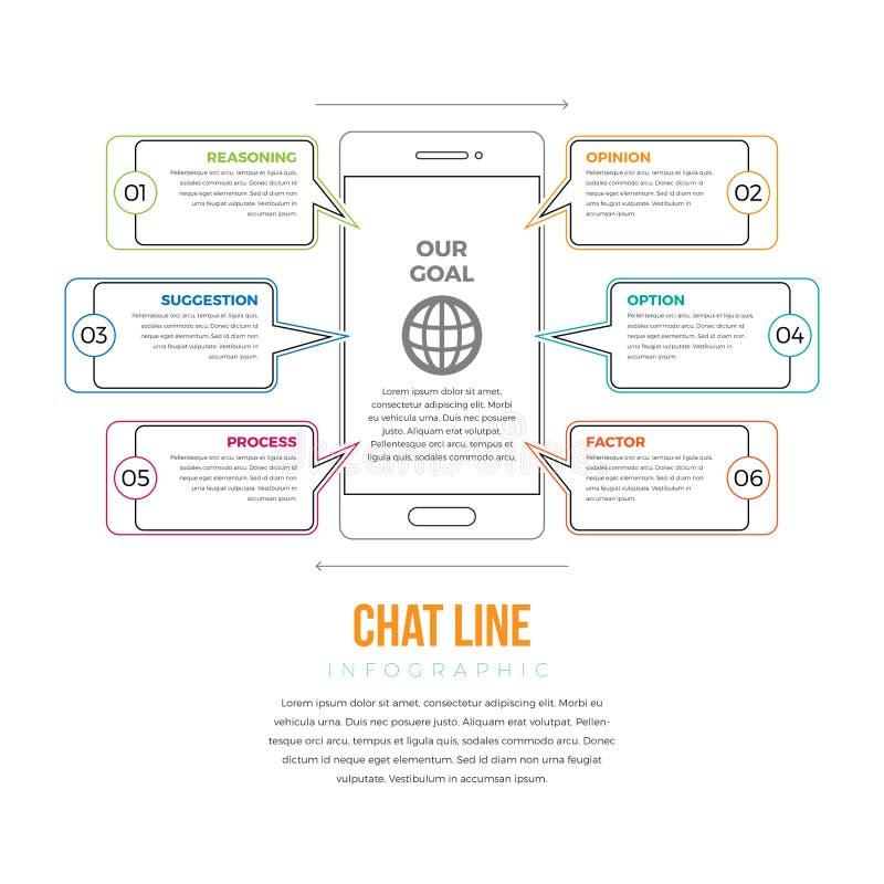 Linea Infographic di chiacchierata illustrazione di stock