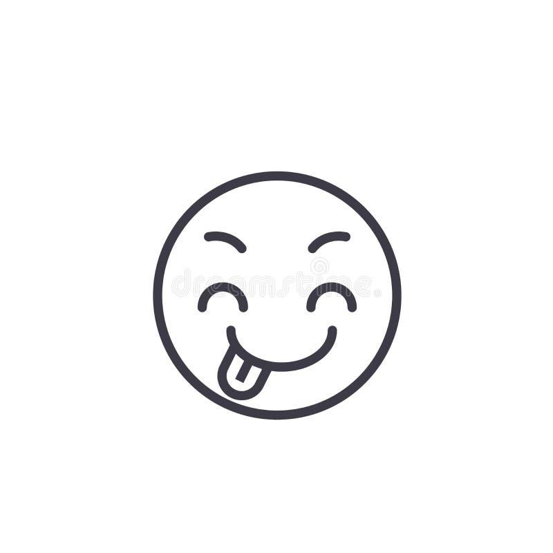 Linea ingannevole vettore editabile, icona di concetto di Emoji di concetto Illustrazione lineare di emozione di concetto inganne illustrazione di stock