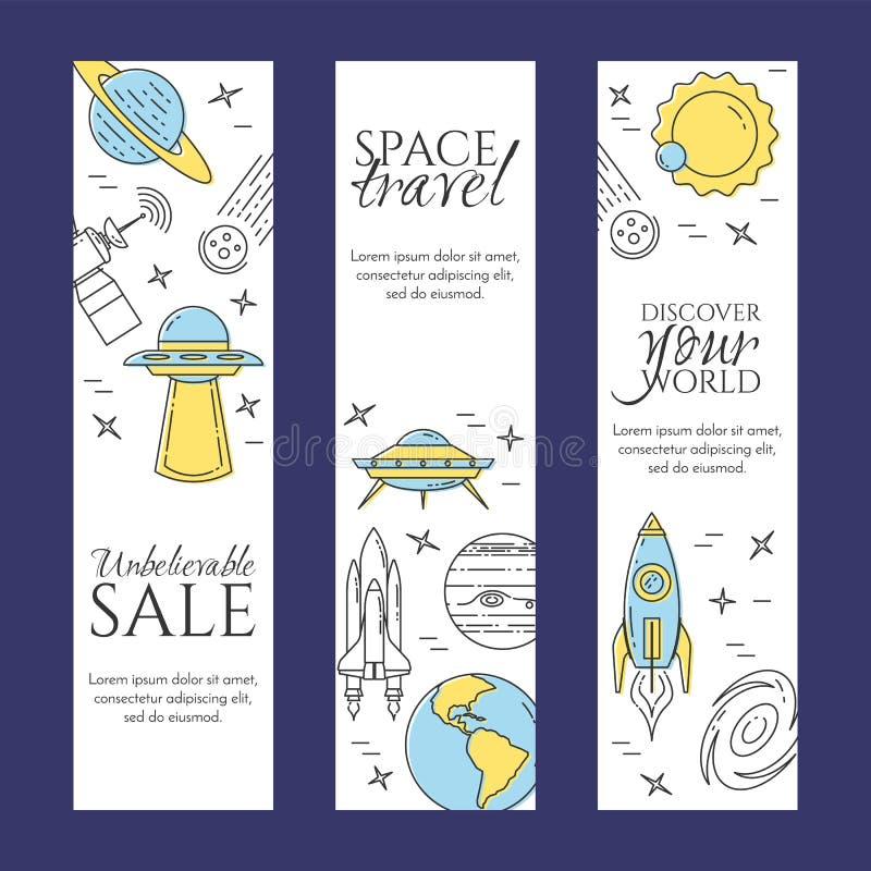 Linea insegna di viaggio nello spazio Insieme degli elementi dei pianeti, delle astronavi, del UFO, del satellite, del cannocchia illustrazione vettoriale