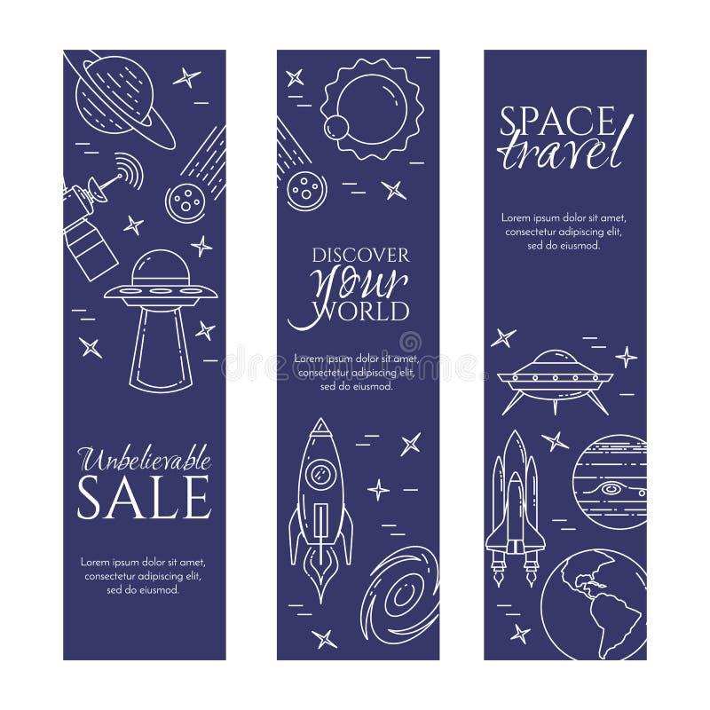 Linea insegna di viaggio nello spazio Insieme degli elementi dei pianeti, delle astronavi, del UFO, del satellite, del cannocchia illustrazione di stock