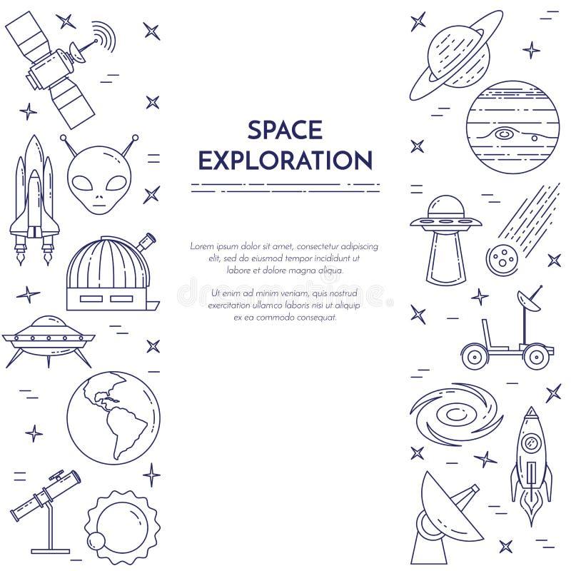 Linea insegna di viaggio nello spazio Insieme degli elementi dei pianeti, delle astronavi, del UFO, del satellite, del cannocchia royalty illustrazione gratis