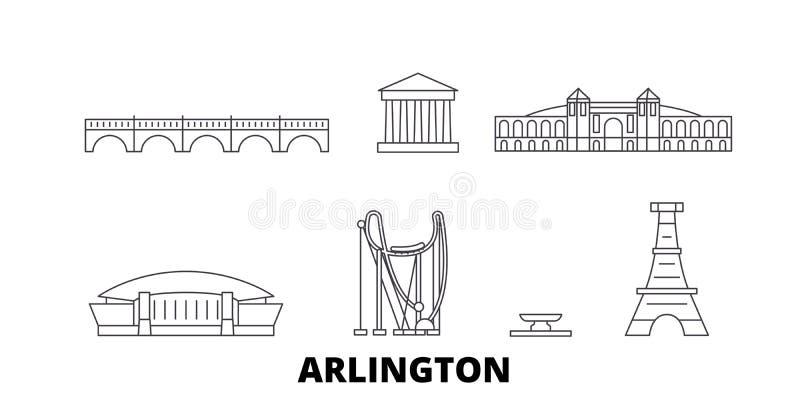 Linea insieme degli Stati Uniti, Arlington dell'orizzonte di viaggio Illustrazione di vettore della città del profilo degli Stati royalty illustrazione gratis