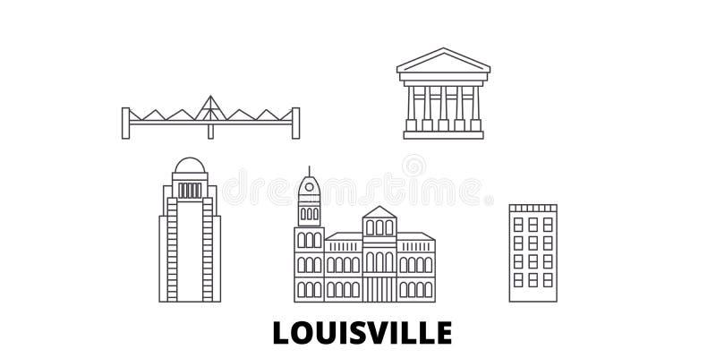 Linea insieme degli Stati Uniti, Louisville dell'orizzonte di viaggio Illustrazione di vettore della città del profilo degli Stat illustrazione di stock