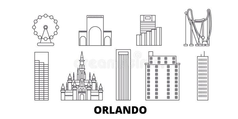 Linea insieme degli Stati Uniti, Orlando dell'orizzonte di viaggio Illustrazione di vettore della città del profilo degli Stati U illustrazione vettoriale