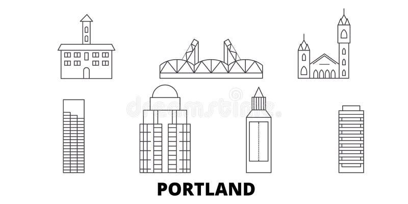 Linea insieme degli Stati Uniti, Portland dell'orizzonte di viaggio Illustrazione di vettore della città del profilo degli Stati  royalty illustrazione gratis