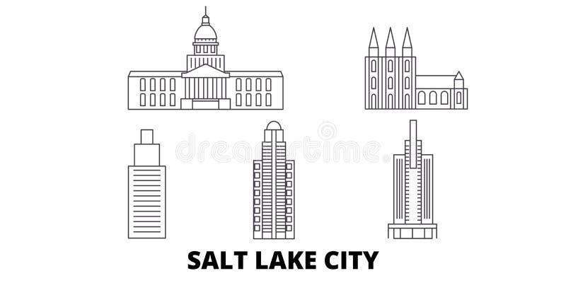 Linea insieme degli Stati Uniti, Salt Lake City dell'orizzonte di viaggio Illustrazione di vettore della città del profilo degli  illustrazione di stock