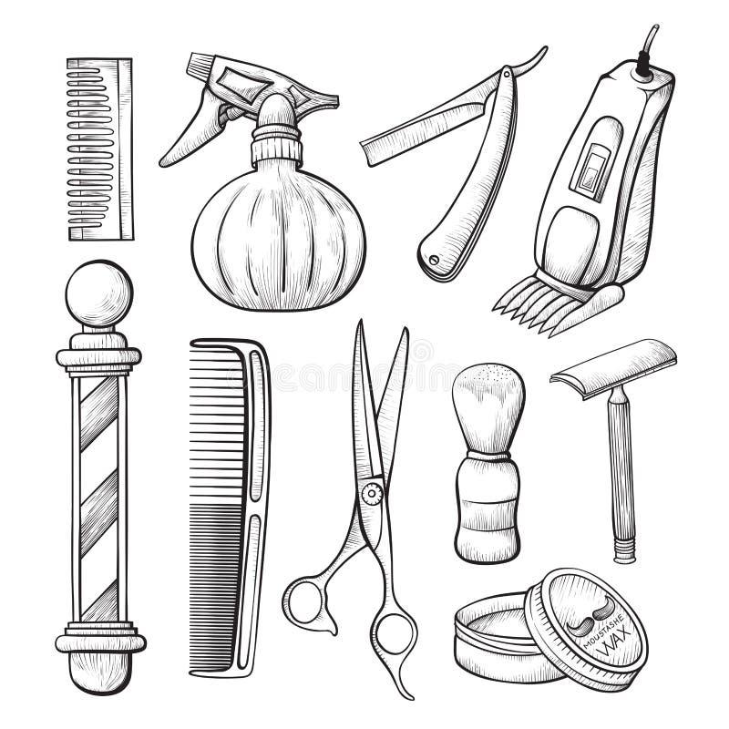 Linea insieme degli strumenti di schizzo di affari di Babershop di arte illustrazione vettoriale