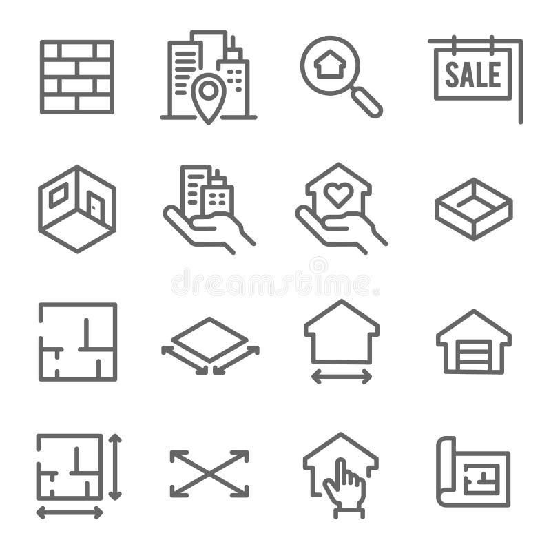 Linea insieme del bene immobile dell'icona Contiene tali icone come il modello, la pianta, ricerca e più Colpo ampliato illustrazione di stock