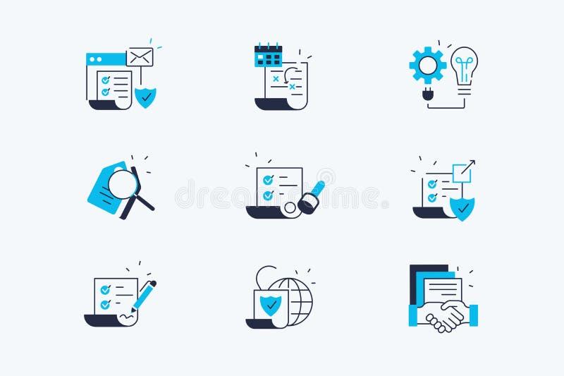 Linea insieme del contratto delle icone illustrazione vettoriale