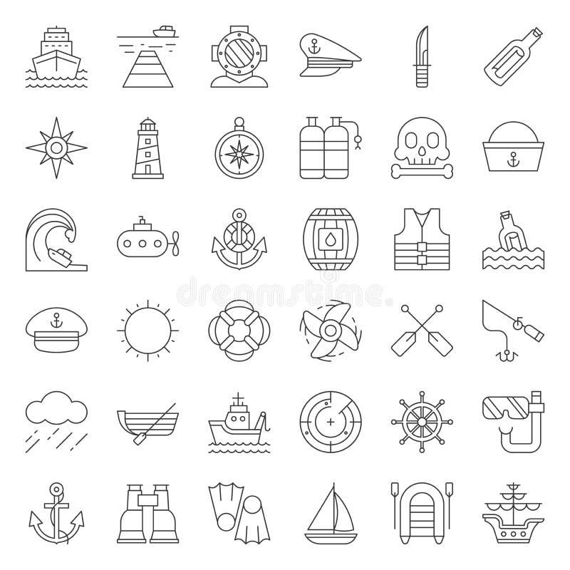 Linea insieme del marinaio e nautica dell'icona illustrazione vettoriale