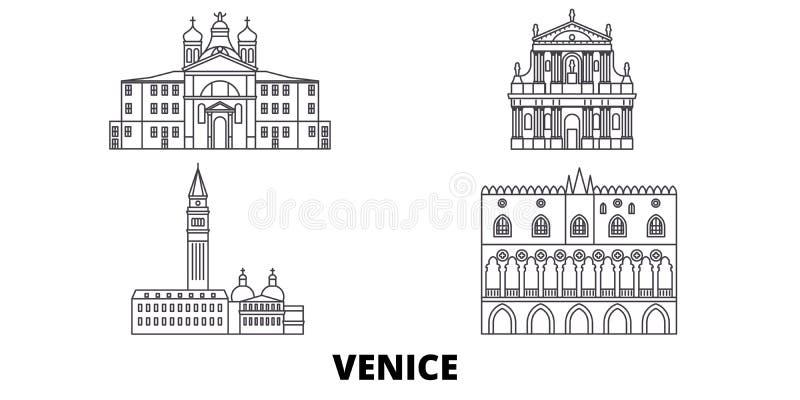 Linea insieme del punto di riferimento dell'Italia, Venezia dell'orizzonte di viaggio Illustrazione di vettore della città del pr illustrazione di stock
