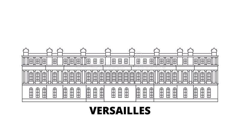 Linea insieme del punto di riferimento della Francia, Versailles dell'orizzonte di viaggio Illustrazione di vettore della città d royalty illustrazione gratis