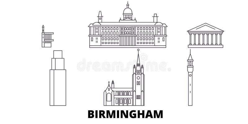 Linea insieme del Regno Unito, Birmingham dell'orizzonte di viaggio Illustrazione di vettore della città del profilo del Regno Un royalty illustrazione gratis