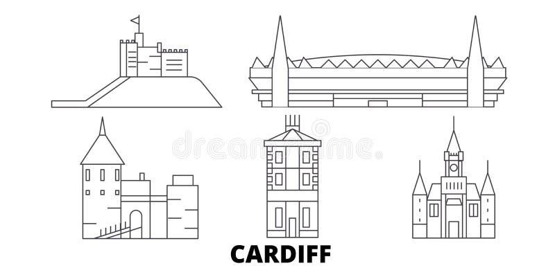Linea insieme del Regno Unito, Cardiff dell'orizzonte di viaggio Illustrazione di vettore della città del profilo del Regno Unito royalty illustrazione gratis