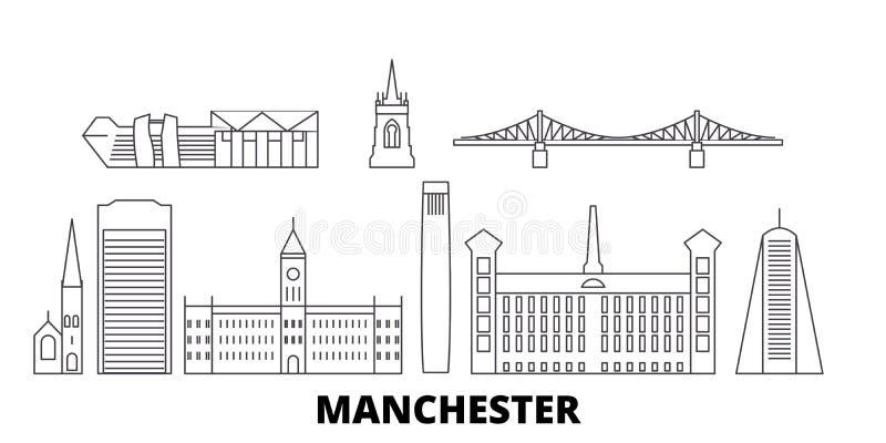 Linea insieme del Regno Unito, Manchester dell'orizzonte di viaggio Illustrazione di vettore della città del profilo del Regno Un illustrazione di stock