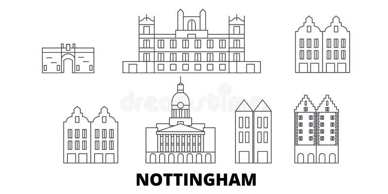 Linea insieme del Regno Unito, Nottingham dell'orizzonte di viaggio Illustrazione di vettore della città del profilo del Regno Un illustrazione di stock