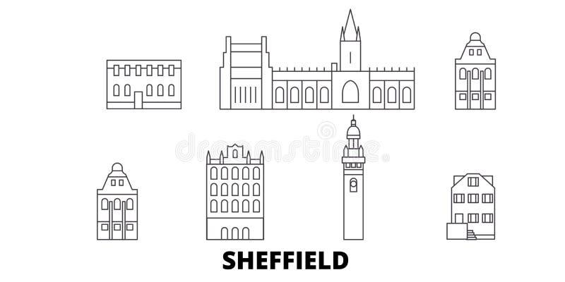 Linea insieme del Regno Unito, Sheffield dell'orizzonte di viaggio Illustrazione di vettore della città del profilo del Regno Uni royalty illustrazione gratis
