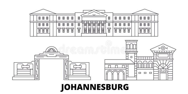 Linea insieme del Sudafrica, Johannesburg dell'orizzonte di viaggio Illustrazione di vettore della città del profilo del Sudafric illustrazione vettoriale