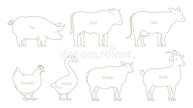 Linea insieme dell'animale da allevamento Produzione di agricoltura Mucca e toro, anatra e pollo Capra e maiale delle pecore Line illustrazione vettoriale