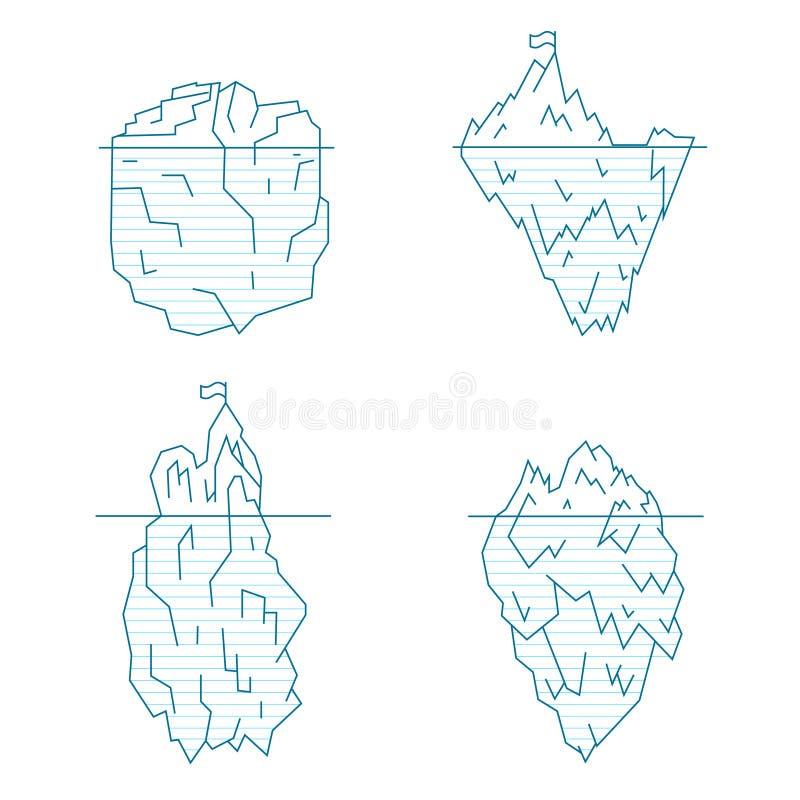 Linea insieme dell'iceberg di stile Vettore illustrazione di stock