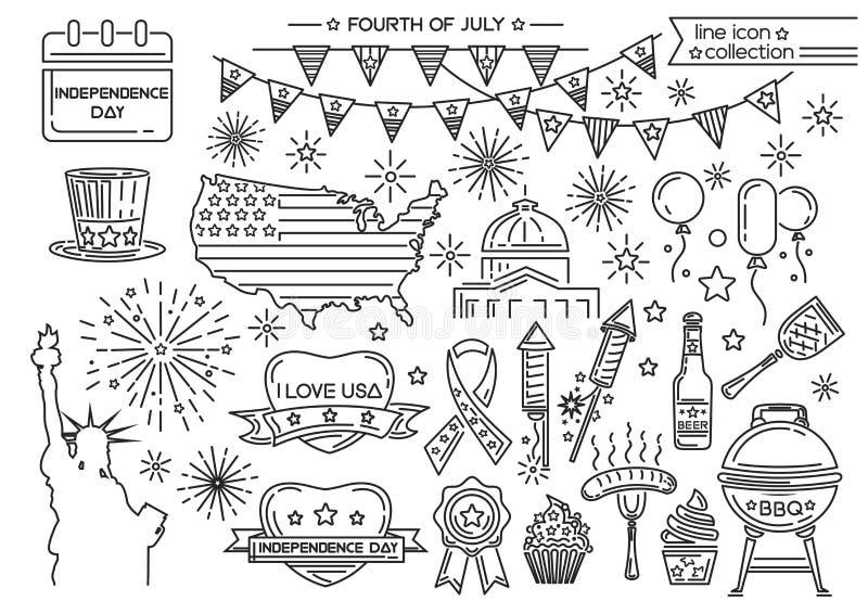 Linea insieme dell'icona per la festa dell'indipendenza dichiarata unita illustrazione vettoriale