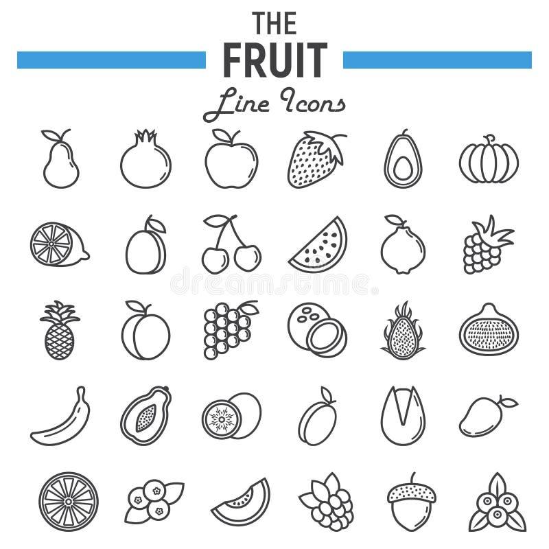Linea insieme dell'icona, raccolta della frutta di simboli dell'alimento illustrazione di stock