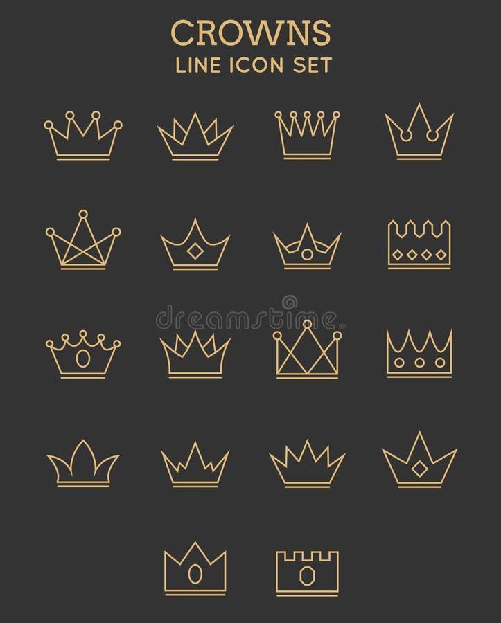 Linea insieme della corona dell'icona illustrazione vettoriale